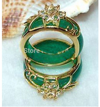 Wholesale FREE SHIPP >2PCS Hand Carvings Green Jades Ring