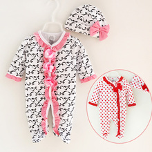 In Stock! Baby Clothing Sets, Girls bow cute hats + lace princess style rompers 2pcs clothes cotton a11 RETAIL
