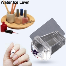 Water Ice Levin Nail Art Templates Clear Jelly Silicone Nail Art Stamper Scraper Set Transparent Polish Print Nail Stamping Tool(China)