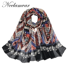 Neelamvar Brand 2017 scarf women popular Chinese national style long shawls big size muslim hijab autumn winter warm wraps(China)