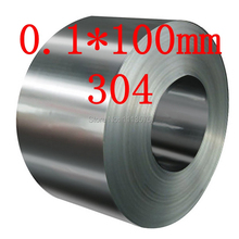 0.1 thickness 0.1*100mm authentic 304 321 316 stainless steel col rolled bright thin foil tape strip sheet plate coil roll(China)