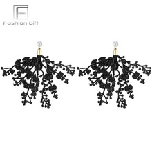 FGifter Fashion Back White Lace Earrings for Women Hollow Cloth Tassels Earring with Pearl Gold Color Drop Earing Female Jewelry