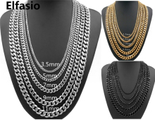 Customized 3.5/5/7/9/11mm Wide Mens Boys Chain Necklace Curb Cuban Link Silver/Gold/Black Tone Stainless Steel Necklace Jewelry
