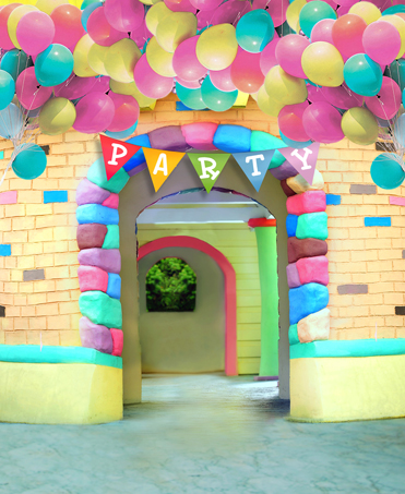 Photography Background Birthday Theme for Kids Colorful Balloons with Flags Brick Door Newborn Baby Photo Backdrops Background<br><br>Aliexpress