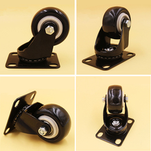 4PCS/Lot 1.5 Inch Black Swivel Flat Casters Sofa Baby Bed Trolley Wheels Load-Bearing 50kg Furniture PU Rubber Castors