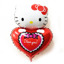 48cm*78cm Large Size Cute Hello Kitty Heart Foil Balloon for Wedding Birthday Party Decoration Kids Child Valentine's Day Gift