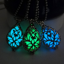 GENBOLI Retro Hollow Out Water Drop Pendant Necklace Noctilucent Glow Bright In Dark Copper Necklace fashion Jewelry