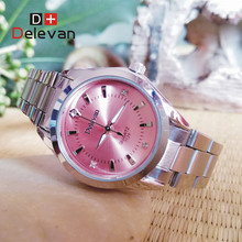 Fashion Watch DELEVAN  Brand relogio Luxury Women's Casual watches waterproof watch women fashion Dress Rhinestone watch 1129