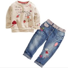 DT0194 new fashion children spring & autumn clothing sets for girls cartoon long-sleeved sweater + jeans suit sets kids costume(China)