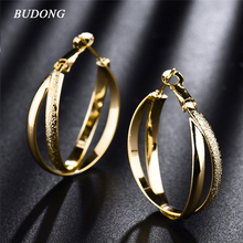 BUDONG Fashion Large Double Circle Hoop Earrings for Women Silver/Gold-Color Earring Vintage Earing for Wedding Jewelry XUE405(China)