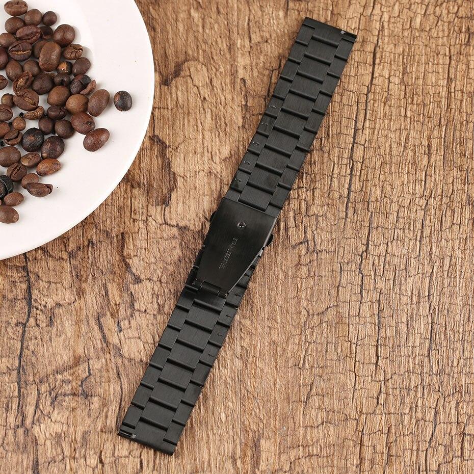 2022 mm Universal Milanese Watchband Quick Release Watch Band Mesh Stainless Steel Strap Wrist Belt Black Bracelet (12)