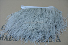 Ffree Shipping 20 yards Glass gray Ostrich Feather Trimming Fringe on Satin Header 5- 6inch(12-15cm) in width for crafts Sewing