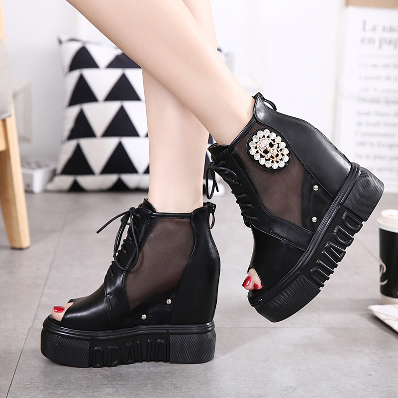 Spring fashion Skull Rhinestone shoes for women wedges ankle boots Net yarn Breathable high platform shoes peep toe heels<br><br>Aliexpress
