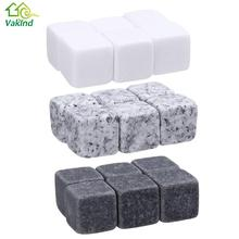 6Pcs Natural Whiskey Stones Sipping Ice Cube Stone Whisky Rock Cooler Wedding Favor Gifts Party Bar Drinking Accessories