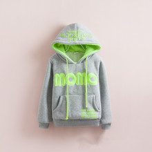 W-7, Children Hoodies, MOMO Winter cotton terry thick poly fleece lining long sleeve hooded sweatshirts