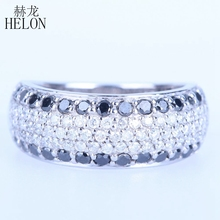 HELON Solid 14k White Gold 1.4ct Full Cut 100% Genuine Natural Diamonds & Black Diamonds Engagement Wedding Jewelry Band Ring(China)