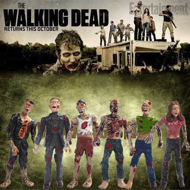 6PCS-Zombie-Walking-Dead-Dolls-Action-Figures-Toys-Static-Model-Of-Movable-Joints