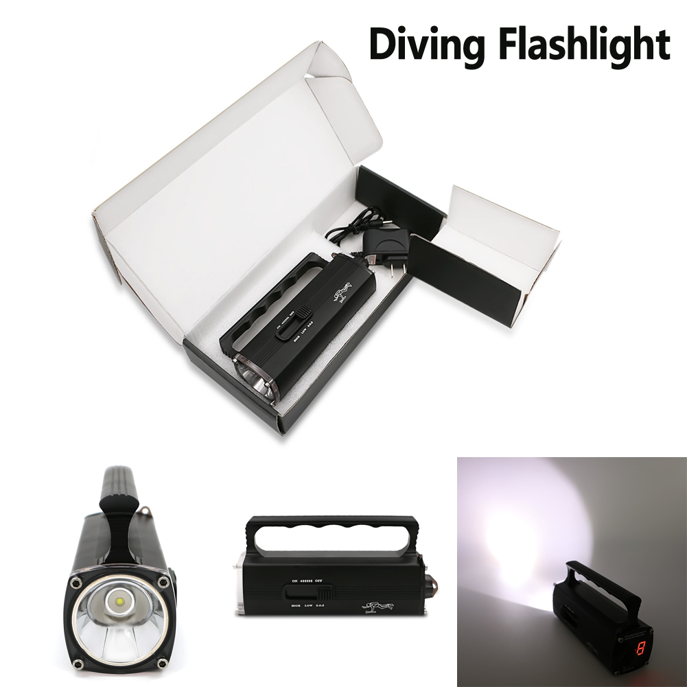 New Bright IPX8 600 Lumens Underwater 100Meters Diving Flashlight XM-L2 LED Light Lamp Diving Torch lantern Built-in battery<br>