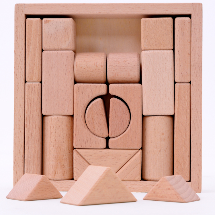 Beech wood  blocks chunk  22 pcs/set  childrens educational toys 2-6 years  unpainted safety  environmental protection can chew<br><br>Aliexpress