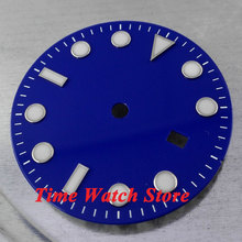 31.3mm blue sterial dial super luminous white marks Watch Dial for Mingzhu 2813 Movement D22