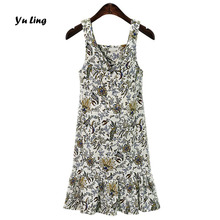 2017 Summer New Women MM Plus Size Printed Spaghetti Strap Dress Women Fashion Casual V Neck Stephania Flower Frill Dress S1520
