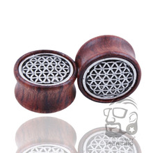 2pcs Fashion Flesh Tunnels Ear Plugs Wood Piercing Ear Expanders 8mm - 20mm Body Piercing Jewelry For Men/Women