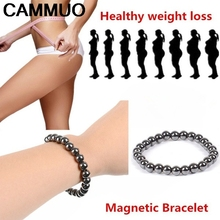 Weight Loss Round Black Stone Magnetic Therapy Bracelet Health Care Biomagnetism Magnet Reduce Weight Hand Ornament Men Women(China)