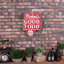 Bar Pub Shops Decorative Neon Sign Momma's GOOD FOOD Led Light Sign Wall Hanging Metal Signs