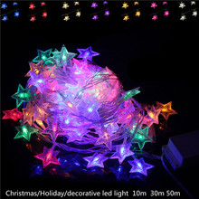 DHL LED Christmas Light 10M-30M 100-300leds 220V Wedding Party Garden Xmas led star String holiday Light Outdoor led lamp bulb(China)