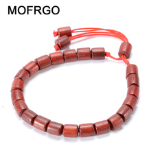 MOFRGO Natural Wood Red Sandalwood Mala Beads Handmade Rope Bracelet Adjustable Yoga Meditation Bracelet For Women Dropshipping
