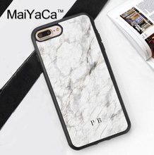 MaiYaCa White marble name initials custom Design Soft Rubber Phone Case For iPhone 6 6S Plus 7 Plus 5S SE Back Cover Skin Shell(China)