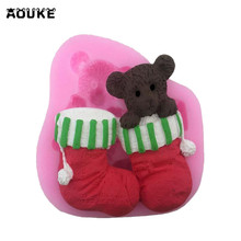 Bear Christmas Socks Cute Animals Fondant Cake Silicone Mold Chocolate Pastry Mould Jello Pudding Molds DIY Cake Baking Tools(China)