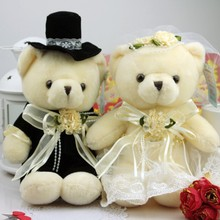 Lovely Sweet couple bear wedding teddy bear plush toys wholesale Christmas gift wedding gift one pair / Order free shipping(China)