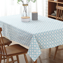 Senisaihon Modern Cotton Linen Tablecloth Blue Pink Geometric Pattern Dining table table cloth Rectangle Hotel Wedding Textile(China)