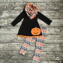 girls Winter outfits 3 pieces with scarf outfits children Halloween clothing children Azect pumpkin pants black top sets