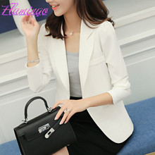 Women Fashion Blazer Double Breasted Female Tops Solid Basic Jacket Coat Notched Single Button Long Sleeve Slim White Suit