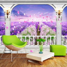3D Natural Scenery Mural Wallpaper Custom 3D Pink Purple Flowers Field Wall Paper Bedding Room Landscape Home Decor Wallcovering(China)