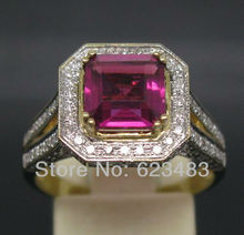 2.99CT SOLID 14K YELLOW GOLD NATURAL VS . GORGEOUS PINK RUBELLITE RING