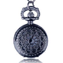Small Size Black Web Crown Heart Pocket Watch Necklace For Xmas Gift Jewelry Watch Necklace