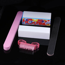 5 Pc/Set Random Color!! Nail Art Buffer Block Manicure Buffing Sanding Files + Nail Brushes Polish Tool Set