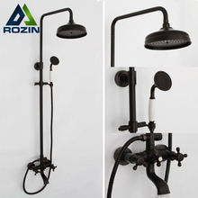 "High Quality Bathroom 8"" Rainfall Shower Faucet Set Oil Rubbed Bronze Dual Handle Wall Mounted Bath Shower Mixer Taps"