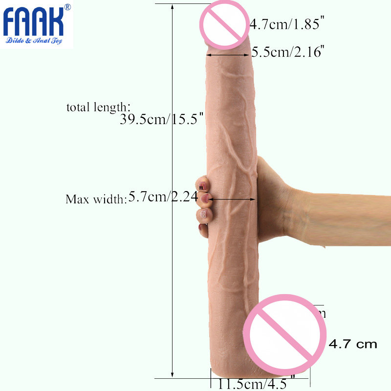 FAAK 15.5 inch Super Huge Dildo With Suction Cup Realistic Penis Big Consoladores Giant Dildo Adult Sex Toys for Women<br>