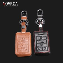 High quality leather key cover for Cadillac CTS ATS XTS SRX 28 T CTS-V Coupe ATS-L XLS Escalade key smart cover Car styling