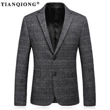 TIAN QIONG Men Wool Blazers and Jackets 2017 Casual Blazers Men Slim Fit Single Breasted Formal Business Suit Jacket Gray Coat(China)