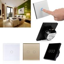 EU Standard Remote Control Switches 1/2/3 Circuit EU Smart Crystal Glass Panel Light Touch Sense Screen Switch Touch switch