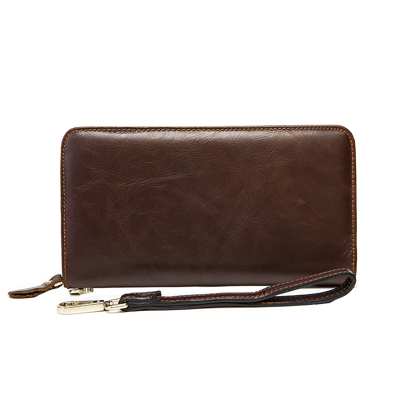 Genuine Leather Fashion Mens Long Wallet Mens Business Wallet Classic Brown Men Purse<br><br>Aliexpress