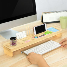 Multifunctional Bamboo Wood Storage Holder Rack Computer Keyboard  Desk Organizer Mobile Phone Holder Girl Room Decoration