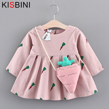 KISBINI Baby Dresses 2017 New Baby Girls Clothes Mini A-Line Baby Princess Dress Cute Cotton Kids Clothing Long Sleeves Radish(China)