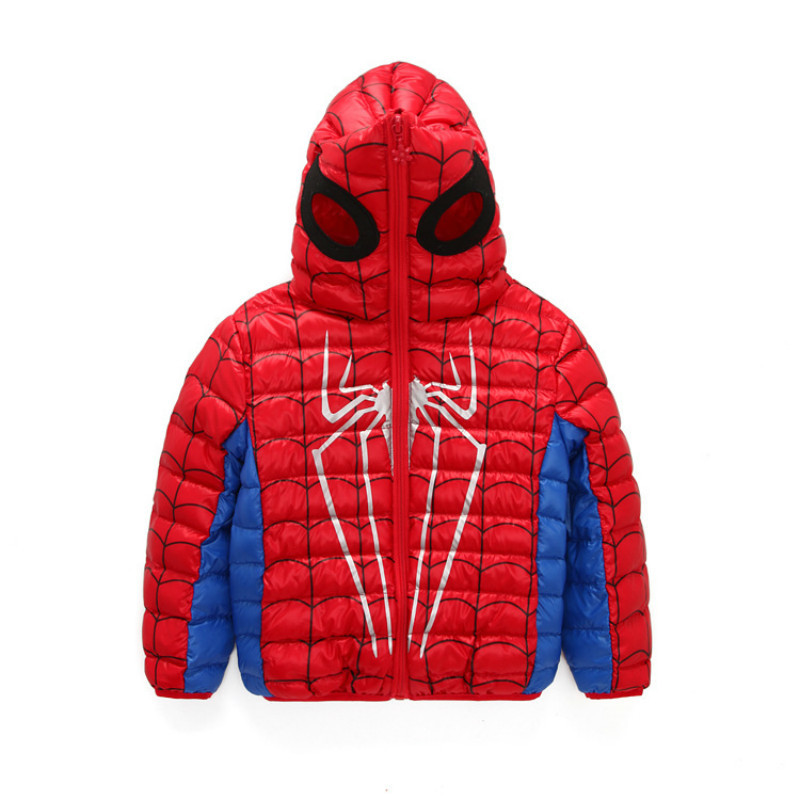 2017 New Fashion Kids Down Jacket For Boys Spider Man Mask 90% White Duck Down Hooded Coat Children Warm Outwear Clothes Suits<br>