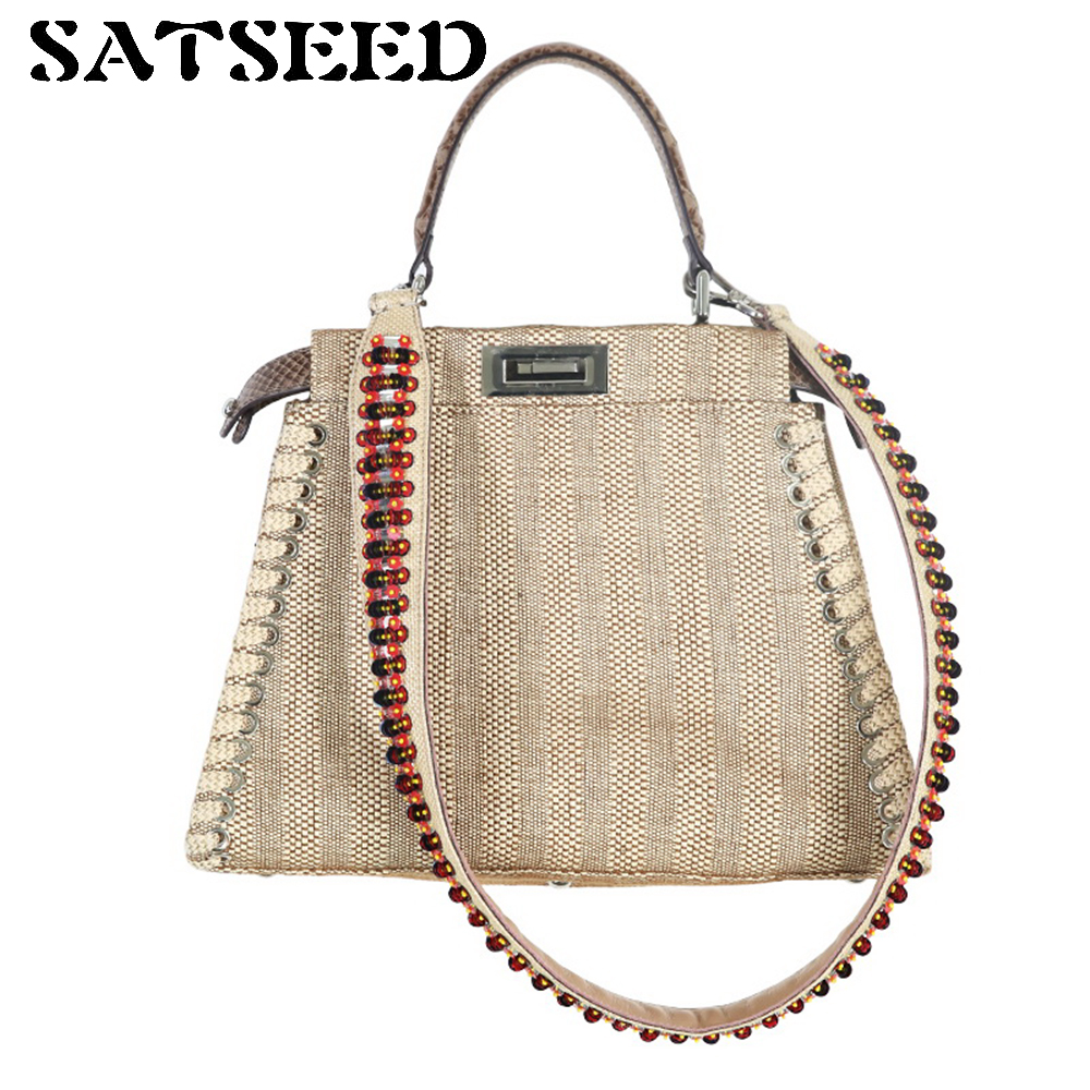 Women Bag Ladies Handbags 2017 Summer New Joker High-end Custom Delicate Straw Pure Manual Nail Bead Bag Fashion<br>